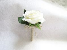 Real Touch White Rose Corsage / Boutonnieres Real Touch Rose