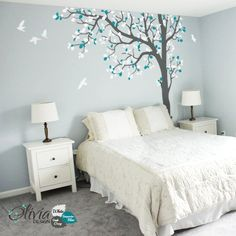 Large Baby nursery Tree vinyl wall decal removable tree sticker with birds -NT023