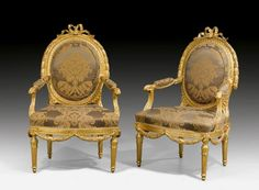 "PAIR OF LARGE FAUTEUILS ""A LA REINE"","