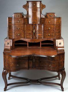 Magnifique bureau secr taire style rococo allemagne for Entreposage de meuble
