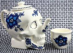 Limited Edition SKULL TEAPOT // Delftware Edition // by Dirie Dirie Me Art & Ceramics on Etsy, $200.50 CAD