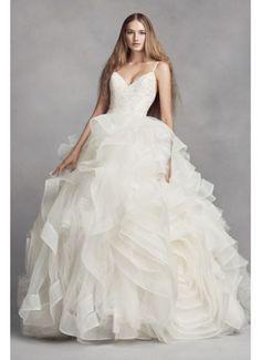 White by Vera Wang Organza Rosette Wedding Dress VW351371