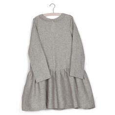 muku  Light Gray Pleated Dress with ¾ Sleeve and Collar