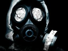 Gas mask tattoo design