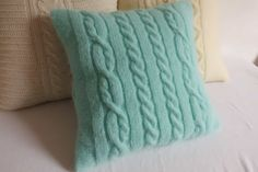 Custom cable knit aqua marine pillow case teal by Adorablewares