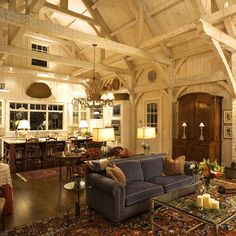 Love this space, so warm, perfect cottage feel. Hand-hewn wood beams add rustic character and blend well with contemporary elements for a traditional look that fits the modern family's lifestyle. From the Northeastern Lumber Manufacturer's Association Style At Home, Home Living, Living Spaces, Living Rooms, Passion Deco, Log Homes, Barn Homes, Home Fashion, Rustic Decor