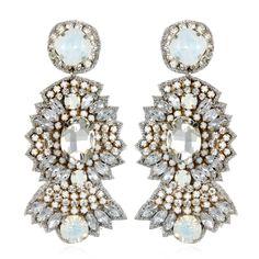 Suzanna Dai - St. Germaine Drop Earrings, Opal/Crystal