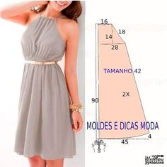 Molde Vestido Casual by angelia Trendy Dresses, Nice Dresses, Casual Dresses, Summer Dresses, Women's Dresses, Dress Sewing Patterns, Clothing Patterns, Loom Patterns, Fashion Sewing