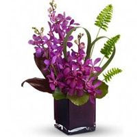 Island Princess Bouquet, Tropical Flowers: This unique arrangement combines exotic purple orchids and island greenery such as sword ferns and ti leaves. Tropical Flower Arrangements, Orchid Arrangements, Beautiful Flower Arrangements, Beautiful Flowers, Romantic Flowers, Purple Orchids, Purple Flowers, Avas Flowers, Purple Vase