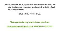 Ejercicio 18. Tema: Rendimiento (reacciones químicas)