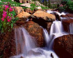 Lake Isabelle Primrose waterfall, Colorado, Rocky Mountain Fine Art