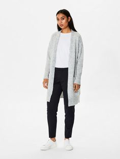 MOHAIR MIX - STRIKKET CARDIGAN, Light Grey Melange, large