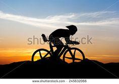 Cycling triathlon at mountain on twilight - stock photo