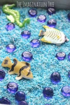 Invitation to play with under the sea sensory rice for kids   Sensory Play   Ocean   Preschool   Toddler  