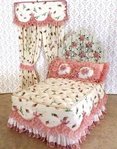 Country style wood plank headboard with crackle finish, handmade daisy flowers. Rose bud print, fluffy tufted top and sides, spread, with matching drapes & valance. Loose pleated dust ruffle, all trimmed in vintage rose lace. Embroidered pillows. Sweet!