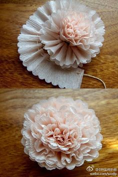 Giant paper flower for a diy wedding backdrop craft tutorial such a good idea to use thread to scrunch the tissue paper up if you have leftover tissue paper feel free to make this beautiful flower mightylinksfo