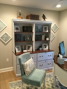 Bookcases chalked & distressed