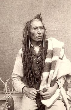 Chief Poundmaker - Pîhtokahanapiwiyin, also known as The Drummer. Cree. Photo by Oliver Buell. Source - Library and Archives of Canada