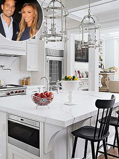 Celebrity Kitchens, Celebrity Homes, Inside Celebrity Houses Celebrity Kitchens, Celebrity Houses, Celebrity Mansions, White Marble Kitchen, All White Kitchen, Kris Jenner Kitchen, Kris Jenner House, Beautiful Kitchens, Cool Kitchens