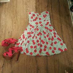 Tube dress Pin up  cherry dress Ixia Dresses Strapless