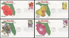 Set Includes: 4750 Red and Pink Hibiscus / 4751 Yellow Cannas / 4752 Red, White and Purple Morning Glories and 4753 White and Purple Passion Flowers. Have description of the stamp subject printed on the back. ARE IN MINT, UNADDRESSED CONDITION