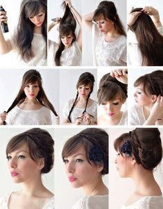 Captivating Boho hairstyles blonde,Bun hairstyles with flowers and Wedge hairstyles posts. Wedge Hairstyles, Fringe Hairstyles, Hairstyles With Bangs, Pretty Hairstyles, Cute Hairstyles, Wedding Hairstyles, Hairstyles 2018, Everyday Hairstyles, Graduation Hairstyles