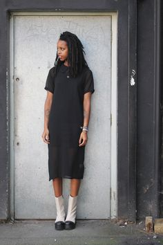 thewhitepepper:  Leather High Rise Boot Ivory Chiffon Shift Dress Black Shop the Winter Wonderland Lookbook Now! Don't forget to Like THE WHITEPEPPER on Facebook for daily styling tips and more!  BGKI - the #1 website to view fashionable & stylish black girls shopBGKI today