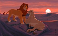 Simba and Nala, the morning after their return. The rains have subsided long enough for the sunrise to illuminate the charred landscape, and with that d. Dawn of a New Life Kiara Lion King, Lion King Simba's Pride, Lion King 3, The Lion King 1994, Lion King Fan Art, Simba And Nala, Le Roi Lion Disney, Disney Lion King, Disney Pixar