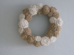 Burlap wreath  18  natural and ivory by TheWalnutStreetHouse, $42.00