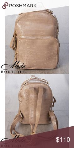 3x #MODA7356BP Beige Croc Backpack 3 pieces.   Unisex Beige Modern Student Faux Crocodile Skin Leather Backpack  Discounts available on larger orders.   (For individual pricing visit our retail Poshmark account @modabyboutique) Boutique Clothing Wholesales @wholesales MODABYBOUTIQUE LV Designs Bags Backpacks