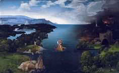 Joachim Patinir (1480-1524), Charon crossing the Styx, 1515-1524, oil on wood, Prado. He was a Flemish Northern Renaissance history and landscape painter, influenced by Hieronymous Bosch.