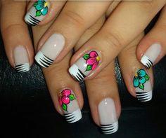 18 Ideas Nails Design Tips Unique Gel Nail Art Designs, Flower Nail Designs, Flower Nail Art, Nails Design, Red Nails, Hair And Nails, Zebra Print Nails, Finger, Fabulous Nails