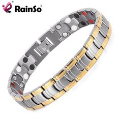 Mens Jewelry Bio Energy Gold Plated Magnetic Health Bracelet Stainless Steel