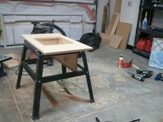 Table Saws, Miter Saws And Woodworking Jigs Contractor Table Saw Dust Collection Upgrade - by Eric_S @ ~ woodworking community Woodworking Table Saw, Essential Woodworking Tools, Antique Woodworking Tools, Intarsia Woodworking, Woodworking Store, Learn Woodworking, Woodworking Furniture, Woodworking Techniques, Woodworking Videos