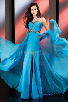 Chiffon A line Sweetheart With Crystal Empire Sweep Train Prom Dress