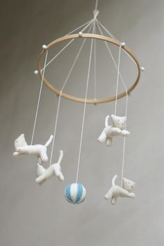 Baby  mobile - nursery decor - baby crib mobile - kitten mobile - cat mobile- baby gift - made to order