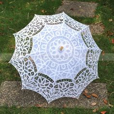 Embroidered Cotton Wedding Umbrella in White
