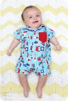 FREE pattern by Peek-a-Boo Pattern Shop for a darling baby romper pattern with a collar, button-up front and snap inseam for easy diaper changes. Boys Sewing Patterns, Sewing For Kids, Baby Patterns, Free Sewing, Sewing Tips, Clothing Patterns, Pdf Patterns, Kids Clothing, Sewing Tutorials