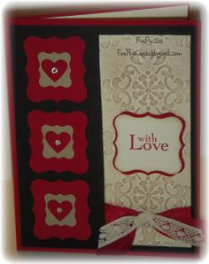 With Love -  Shawn Crawford (USA-California), Stamps - Field Flowers Paper - Basic Black, Crumb Cake, Real Red, Very Vanilla Ink - Crumb Cake, Real Red Punches - Curly Label, Petite Curly Label, Small Heart Ribbon - Chantilly, Cherry Cobbler Seam Binding Jewels - Pearls, Rhinestones Embossing Folder - Vintage Wallpaper