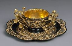 Shakudo (copper alloy) and gold cup and saucer set, Japan, Edo period (1615–1868), 1731
