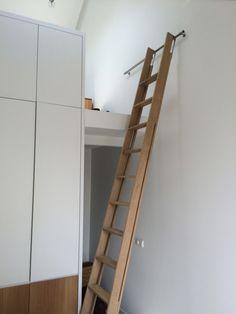 ladder to loft Library Ladder, Attic Ladder, Loft Ladders, Tiny House Stairs, Attic Stairs, Ship Ladder, Sleeping Loft, Urban Loft, Attic Rooms