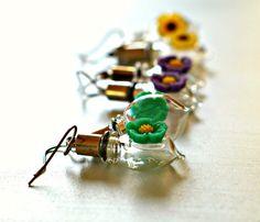 Glass Lantern Earrings  Tiny Bottles & Resin by mentalembellisher