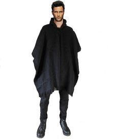 Dark Poncho mens alpaca wool jumper hoodie warm by ANDEANFASHION