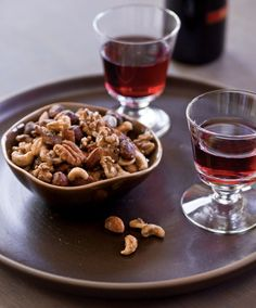 Maple-Bacon Spiced Nuts - tell me these wouldn't be great with either beer or whiskey