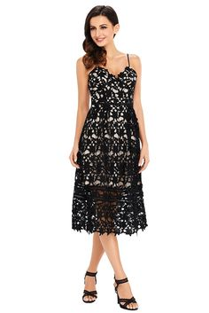 Black Lace Hollow Out Nude Illusion Cocktail Party Dress
