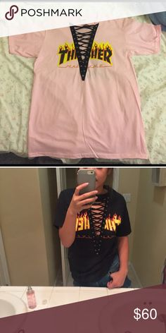 LATE NIGHT SALE Pink Thrasher Lace Up Tee Lace up thrasher tee. this listing is for the pink lace up. the 2nd picture is just for reference if anyone wants to see it modeled. no trades. will consider offers. not brandy melville. Brandy Melville Tops Tees - Short Sleeve