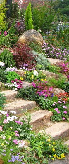 Wonderful ideas for landscaping in the front yard rock garden ., Wonderful Landscaping Ideas for Rock Garden Front Yard Even though age-old around strategy, the particular pergola has been suffering from a bit of a. Rockery Garden, Sloped Garden, Hillside Garden, Rock Garden Plants, Potager Garden, Garden Planters, Shade Garden, Landscaping With Rocks, Front Yard Landscaping