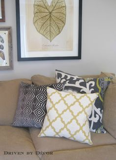 How to style cream couch with grey walls