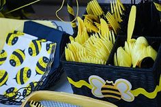 bumble bee party  Like this idea for plates & extra napkins too.