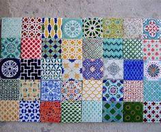 Handpainted Morrocan Tile Splashback - Set of 40 mixed bohemian designs by Terethsheba Bohemian Tiles